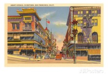 Grant Avenue in Chinatown, San Francisco, poster from the 1940s